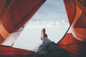 keep your feet dry when camping in winter