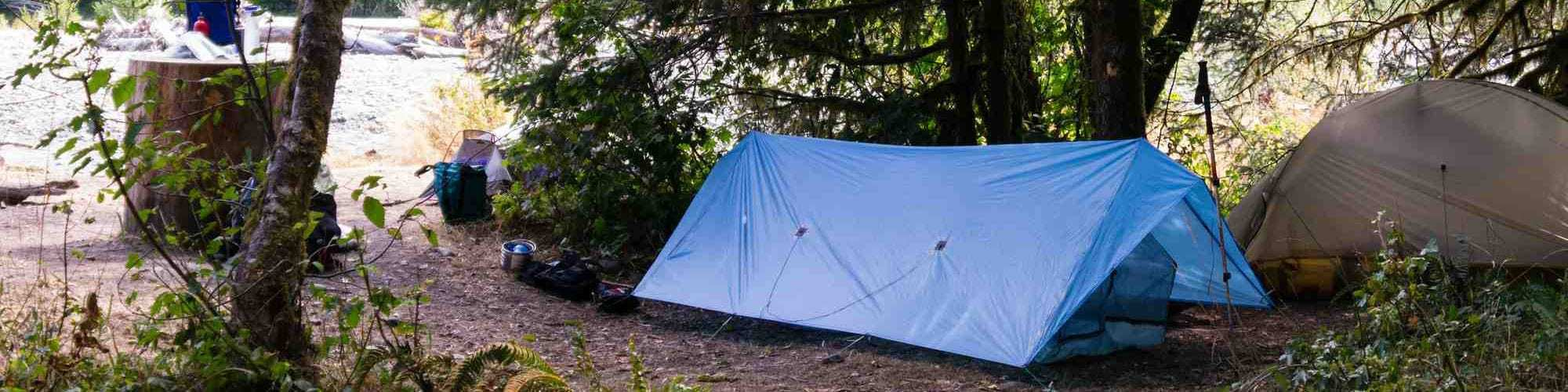 Tarp camping with an a-frame pitch as a tarp shelter configuration