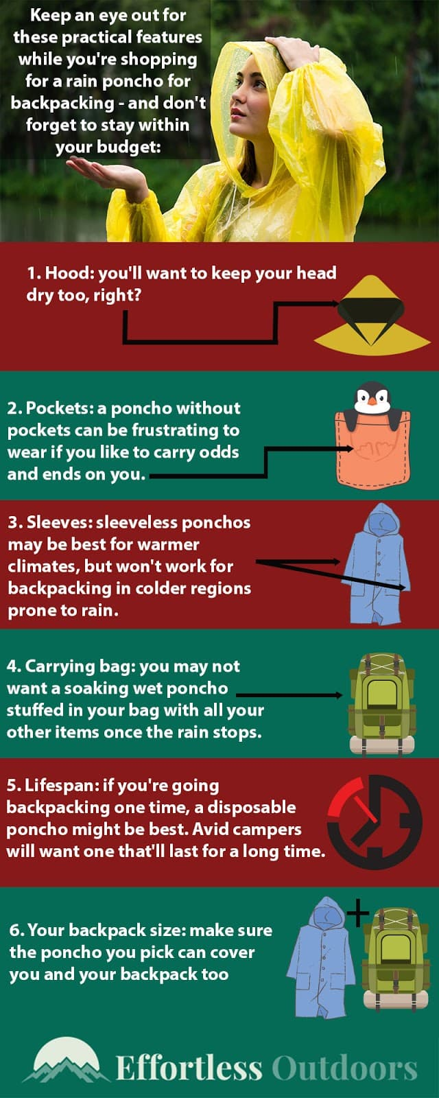 best rain poncho for backpacking infographic