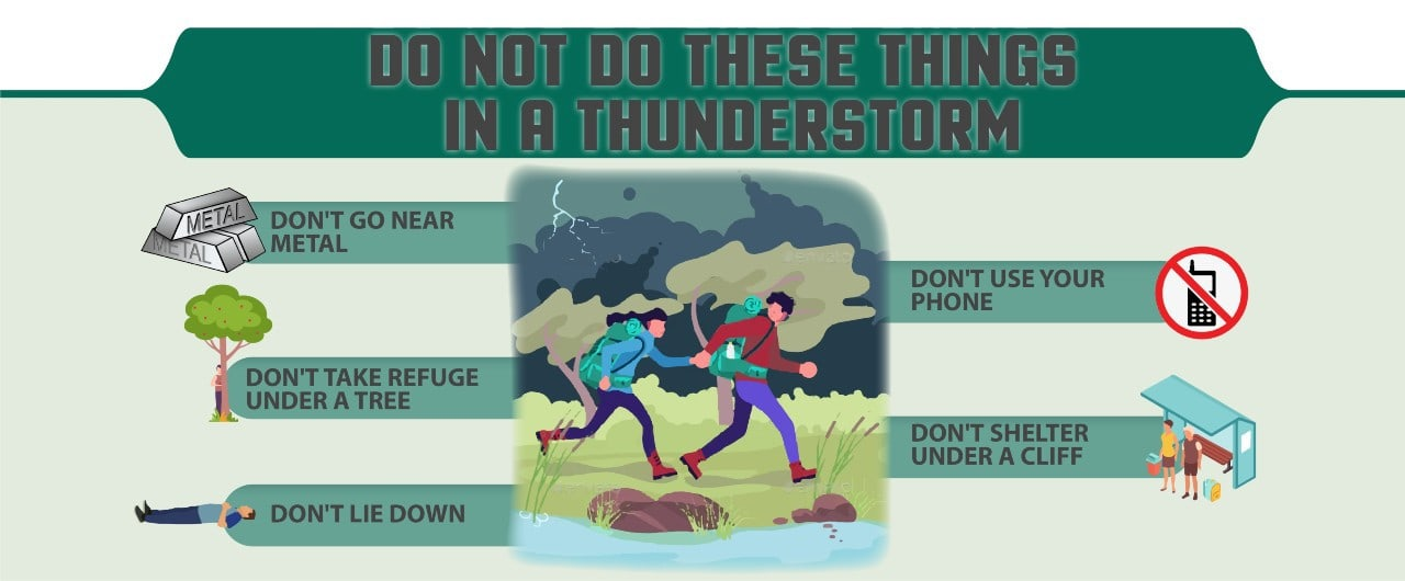 what not to do in a thunderstorm outdoors