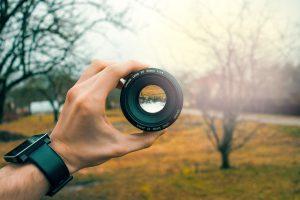 lens observing landscape